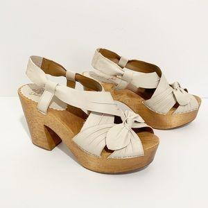 Miss Albright Wood Heel Clog Platform Sandal Bow